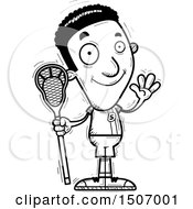 Black And White Waving Black Male Lacrosse Player
