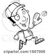 Black And White Running Black Male Baseball Player