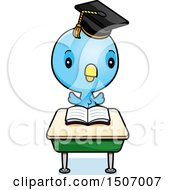 Clipart Of A Graduate Student Blue Bird Reading At A School Desk Royalty Free Vector Illustration by Cory Thoman