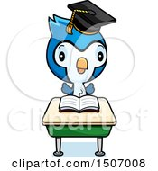 Clipart Of A Graduate Student Blue Jay Reading At A School Desk Royalty Free Vector Illustration