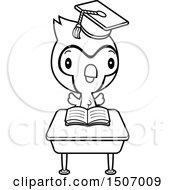 Clipart Of A Black And White Graduate Student Blue Jay Reading At A School Desk Royalty Free Vector Illustration