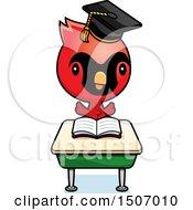 Poster, Art Print Of Graduate Student Cardinal Bird Reading At A School Desk