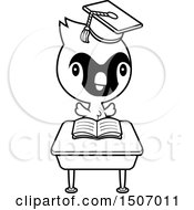 Clipart Of A Black And White Graduate Student Cardinal Bird Reading At A School Desk Royalty Free Vector Illustration