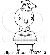 Clipart Of A Black And White Graduate Student Chick Reading At A School Desk Royalty Free Vector Illustration