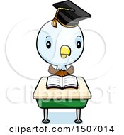 Clipart Of A Graduate Student Bald Eagle Reading At A School Desk Royalty Free Vector Illustration