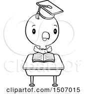 Clipart Of A Black And White Graduate Student Bald Eagle Reading At A School Desk Royalty Free Vector Illustration