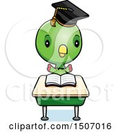 Clipart Of A Graduate Student Parrot Reading At A School Desk Royalty Free Vector Illustration