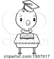 Clipart Of A Black And White Graduate Student Parrot Reading At A School Desk Royalty Free Vector Illustration