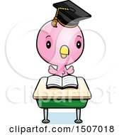 Clipart Of A Graduate Student Pink Bird Reading At A School Desk Royalty Free Vector Illustration