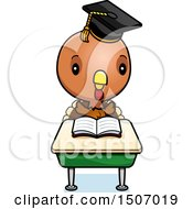 Clipart Of A Graduate Student Turkey Reading At A School Desk Royalty Free Vector Illustration