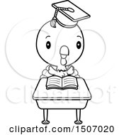 Poster, Art Print Of Black And White Graduate Student Turkey Reading At A School Desk