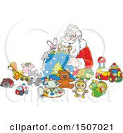 Clipart Of Santa Claus Filling A Sack With Toys Royalty Free Vector Illustration