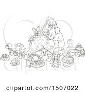 Clipart Of A Black And White Santa Claus Filling A Sack With Toys Royalty Free Vector Illustration