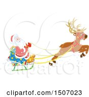 Clipart Of A Single Reindeer Flying Santa Claus In A Sleigh Royalty Free Vector Illustration