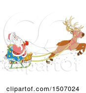 Clipart Of A Single Reindeer Flying Santa In A Sleigh Royalty Free Vector Illustration