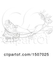 Clipart Of A Black And White Single Reindeer Flying Santa In A Sleigh Royalty Free Vector Illustration