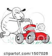 Sheep Pushing A Lawn Mower