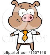 Happy Cartoon Pig Boss