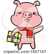 Cartoon Angry Pig With Christmas Present