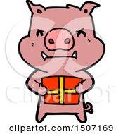 Angry Cartoon Pig With Christmas Gift