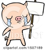 Cartoon Crying Pig With Sign Post