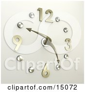 Poster, Art Print Of Chrome Or Silver Office Wall Clock With The Hands Pointing At 10 Minutes To 5pm