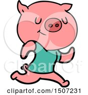 Happy Animal Clipart Cartoon Pig Running by lineartestpilot