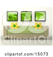 Green And Tan Couch With Sunflower Throw Pillows Under Three Green Futurist Framed Prints In A Modern Living Room Or Lobby In An Office