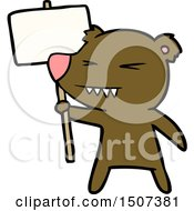 Angry Bear Cartoon Protesting