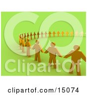 Golden People Standing Side By Side And Holding Hands While Forming A Large Circle Symbolizing Teamwork Support Or Taking A Stand Clipart Graphic