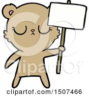 Peaceful Cartoon Bear Cub With Protest Sign