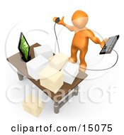 Stressed Orange Employee Staring At Their Crowded Desk Topped With Stacks Of Paperwork Trying To Figure Out Where They Can Put Their Computer Keyboard Clipart Graphic by 3poD