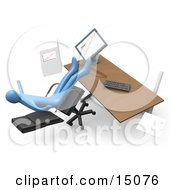 Clumsy Blue Business Person Falling Backwards After Leaning Too Far Back In A Chair At His Computer Desk While Comparing Graphs On A Printout And On The Computer