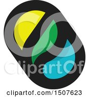 Clipart Of A Sun Water Drop And Leaf Design Royalty Free Vector Illustration