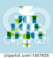 Poster, Art Print Of Christmas Tree Formed Of A Dove Gift And Joy Love Peace Text On Blue
