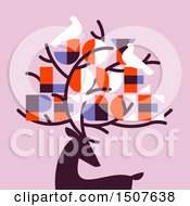 Poster, Art Print Of Silhouetted Reindeer With Doves And Joy Love Peace Text On Pink