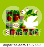 Clipart Of A Christmas Dove With Happy Holidays Text On Green Royalty Free Vector Illustration by elena