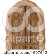 Clipart Of A Wooden Door Royalty Free Vector Illustration