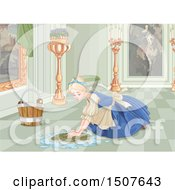Poster, Art Print Of Sad Cinderella As A Maid Scrubbing A Floor In Her Home