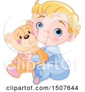 Clipart Of A Blond Haired Blue Eyed Caucasian Baby Boy Hugging A Teddy Bear And Sitting Royalty Free Vector Illustration by Pushkin