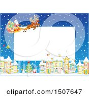 Clipart Of A Christmas Frame Of Santa And His Reindeer Flying A Sleigh Over A Snowy Village Royalty Free Vector Illustration