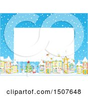 Clipart Of A Christmas Border Of A Snowy Village With A Snowman Tree And Santa Royalty Free Vector Illustration