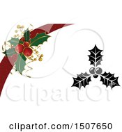Christmas Background With Sprigs Of Holly