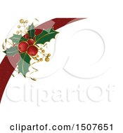 Christmas Background With A Red Ribbon And Sprig Of Holly