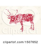 Silhouetted Christmas Reindeer Made Of Red And White Icons On Beige With Snowflakes