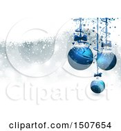 Christmas Background With 3d Suspended Blue Baubles Over Snow