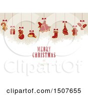 Clipart Of A Merry Christmas And Happy New Year Greeting With Suspended Ornaments Royalty Free Vector Illustration