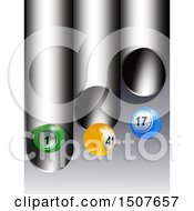 Poster, Art Print Of 3d Colorful Bingo Or Lottery Ball Falling From Metal Tubes