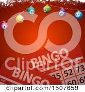 Christmas Bingo Background With Cards And A Banner Of Balls