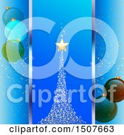 Blue Christmas Background With A Magical Tree And Bauble Ornaments